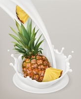 Milk splash and pineapple. 3d vector object. Natural dairy products