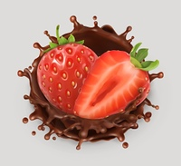 Strawberry and chocolate splash. Realistic illustration. 3d vector icon