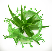 Aloe juice, health and care. 3d vector icon