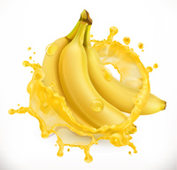 Banana juice. Fresh fruit, 3d vector icon