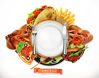 Fast food logo. Sandwich, steak, chicken, french fries, tacos, sausages, pizza. 3d vector icon, realism style