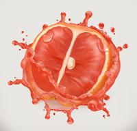 Grapefruit juice. Fresh fruit, 3d vector icon