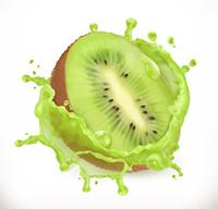 Kiwi fruit juice. Fresh fruit, 3d vector icon