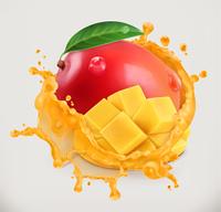 Mango juice. Fresh fruit, 3d vector icon