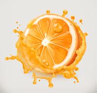 Orange juice. Fresh fruit, 3d vector icon