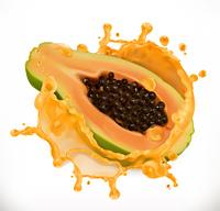 Papaya juice. Fresh fruit, 3d vector icon