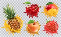 Pineapple, strawberry, apple, cherry, mango juice. Fresh fruits and splashes, 3d vector icon set