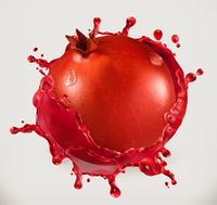 Pomegranate juice. Fresh fruit, 3d vector icon
