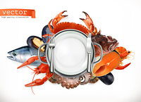 Sea food logo. Fish, crab, crayfish, mussels, octopus 3d vector icon, realism style