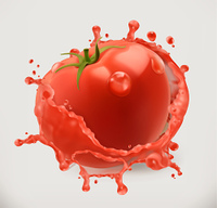 Tomato juice. Fresh vegetable, 3d vector icon