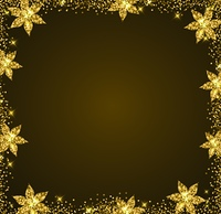 Decorative golden glitter holiday frame with flowers. Shining Christmas background.