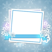 White paper card and snowflakes on a blue background. Christmas background.