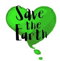 """Green watercolor heart and lettering Save the Earth"""". Ecological concept for Earth day"""""""