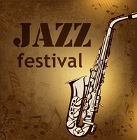 Vintage vector background with music notes and saxophone for jazz festival