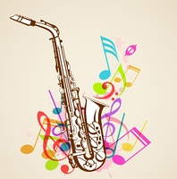 Abstract background with music notes and saxophone