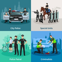 Police People Flat 2x2 Design Concept. Police people 2x2 flat concept set of city police special units criminalists  and police patrol design compositions vector illustration