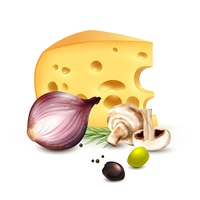 Cheese Onion Olives Realistic Background Poster. Chunk of cheese with red onion champignons rosemary and olives realistic mediterranean culinary background poster vector illustration