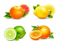 Citrus Fruits  4 Realistic Icons Set . Fresh citrus fruits whole and halves 4 realistic icons square with orange grapefruit lemon isolated vector illustration