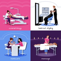 Beauty Salon People Concept. Beauty salon people concept with various relax stylish and cosmetic procedures in flat style isolated vector illustration