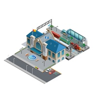 Train Station Isometric Miniature. Isometric miniature of railway with station building near area parking platform passenger and freight trains vector illustration