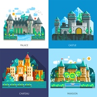 Medieval Castles Set. Medieval castles set of various buildings construction in colorful flat style isolated vector illustration