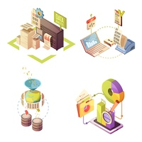 Data Analysis Isometric Compositions. Data analysis isometric compositions with information gathering processing and check charts and statistics isolated vector illustration