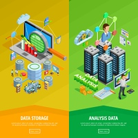 Data Analysis 2 vertical Isometric Banners . Big data storage and analysis technology informatio decisions 2 isometric vertical banners webpage design isolated vector illustration