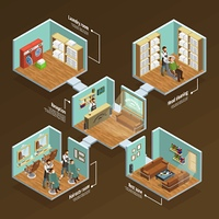 Barbershop Isometric Concept . Barbershop isometric concept with haircut room and laundry on brown background vector illustration