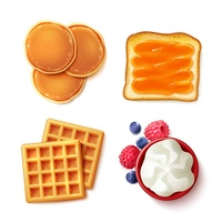 Breakfast Food 4 To View Items. Breakfast menu items 4 realistic top vie images square composition with pancakes waffles toast cream isolated vector illustration