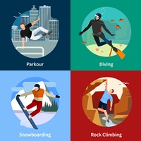 Extreme Sports People 2x2 Icons Set. Colorful extreme sports people 2x2 icons set with parkour diving snowboarding and rock climbing isolated vector illustration
