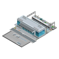 Isometric Miniature Of Railway Station. Urban railway station with cars on parking and passenger train  on platform isometric miniature vector illustration