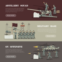 Military Army Horizontal Banners Set . Military army force base with artillery squad webpage design 3 flat horizontal banners set isolated vector illustration