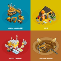 Mining Concept Icons Set .  Mining concept icons set with machinery symbols isometric isolated vector illustration