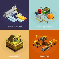 Mining Concept Isometric Icons Set . Mining concept isometric icons set with metal products symbols isolated vector illustration