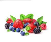 Berries Realistic Composition .  Berries realistic composition with strawberry raspberry blueberry and blackberry vector illustration