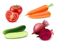 Realistic Vegetables Set. Realistic vegetables set with tomato carrot cucumber and beet on white background isolated vector illustration