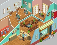 Barbershop Interior Isometric Illustration . Barbershop interior with head washing laundry and reception symbols isometric vector illustration
