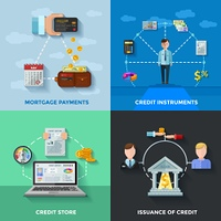 Credit Rating 2x2 Design Concept. Credit rating 2x2 design concept set of  mortgage payments credit score issuance of credit compositions flat vector illustration