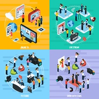 Media Network Isometric Template. Media network isometric template with reportes journalists newsman and correspondents isolated vector illustration