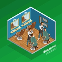 Haircut Room Concept . Haircut room isometric concept with barber and equipment symbols on green background vector illustration