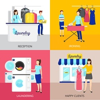 Laundry Concept Icons Set . Laundry concept icons set with iron and reception symbols flat isolated vector illustration