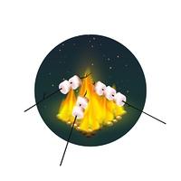Roasting Of Marshmallows On Bonfire . Round design with roasting of marshmallows on bonfire in evening on white background vector illustration