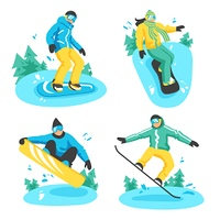 People On Snowboard Design Compositions. Four colored design compositions with people on snowboard in different poses riding from snowy mountain top flat vector illustration