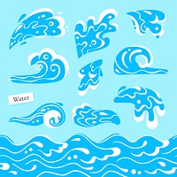 Set of isolated sea or ocean wave, splashes of water and seamless pattern marine stream. Tidal gale shape with foam.. Set of isolated sea or ocean wave, splashes of water and seamless pattern marine stream. Tidal gale shape with foam. Vector illustration.