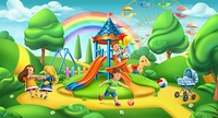 Children playground. Nature landscape, park 3d vector panorama