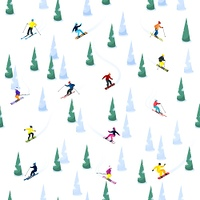 Ski Hill Seamless Pattern. Ski seamless decorative pattern with small isolated figures of skiers ice and trees on blank background vector illustration
