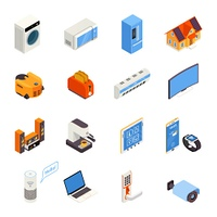 Smart Home  Technology Isometric Icons Collection . Internet of things smart home elements isometric icons collection with kitchen appliances and cell phone isolated vector illustration
