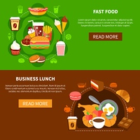 Fast Food Business Lunch Flat Banners . Fast food online menu options 2 flat banners webpage design with business lunch and family meal vector illustration