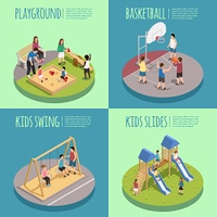 Children Playground Isometric Compositions. Children playground isometric compositions including kids in sandbox, basketball game, swings and slides isolated vector illustration