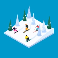 Skiing Landscape Isometric Element. Skiing hill square isometric scenery element with colorful skiers and snowboarders figures snow terrain and trees vector illustration